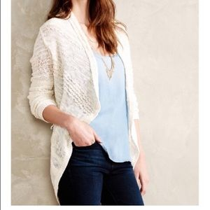 Anthropologie Knitted & Knotted Cream Cardigan